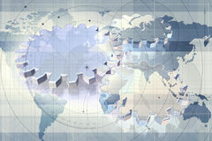 Gears on world map Stock Image