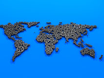 Gears world map. Metal gears world map on blue Royalty Free Stock Photo
