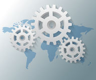 Gears with world map Stock Images