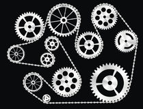 Free Gears Wrapped By A Chain Royalty Free Stock Image - 13384366