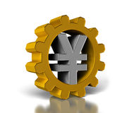 Gears with yen Stock Image