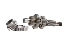 Gearset and gears. A set of gears taken out of a gearbox, shot in the studio over a white background Stock Image