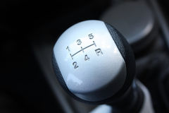 Gearshift. Macro shot of a silver gearshift Royalty Free Stock Images