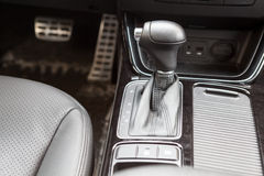 Gearshift lever of automatic gearbox. Car interior royalty free stock photography