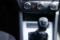 Gearshift lever of a car manual transmission. Gear lever in the car royalty free stock images