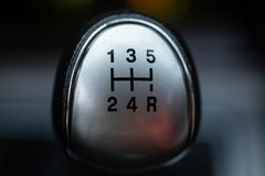 Gearshift lever close up. Small depth of field stock photos