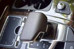 Gearshift lever in a modern car. The cereal plan royalty free stock image