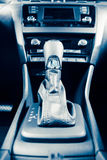 Gearstick of speed shift selector in automatic transmission car. Closeup view Royalty Free Stock Images