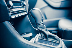 Gearstick of speed shift selector in automatic transmission car. Closeup view Stock Photo