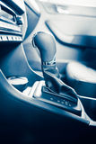 Gearstick of speed shift selector in automatic transmission car. Closeup view Stock Photos