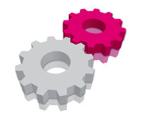 GearWheel. White & Magenta gearwheels on white background stock illustration