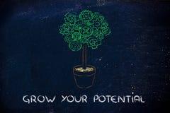 Gearwheel drzewo, surrealistyczna interpretacja zielona gospodarka Obrazy Stock