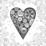 Gearwheel heart-shaped mechanism background. Illustration Stock Photo