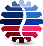 Gearwheel logo. Illustration art of a gearwheel logo with  background Royalty Free Stock Photos