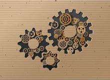 Gearwheel mechanism background. Vector illustration. Vector illustration gearwheel . card board style Royalty Free Stock Photos