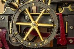 Gearwheels часов церков год сбора винограда Стоковая Фотография RF