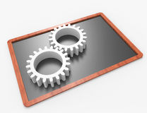 Gearwheels on blackboard Royalty Free Stock Photography