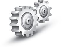 Gearwheels. 3D gear wheels in steel Royalty Free Illustration