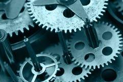 Gearwheels inside clock mechanism. Macro Stock Images