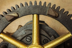 Gearwheels of a vintage church clock Royalty Free Stock Photos