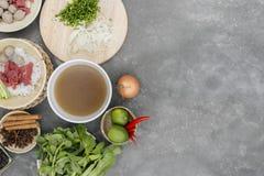 Geassorteerd Aziatisch diner met Vietnamese pho BO van de noedelsoep royalty-vrije stock fotografie