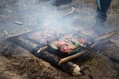Geassorteerd heerlijk geroosterd vlees met groente over de steenkolen op een barbecue Stock Afbeeldingen