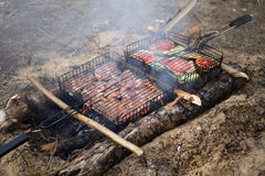 Geassorteerd heerlijk geroosterd vlees met groente over de steenkolen op een barbecue Stock Afbeelding