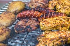 Geassorteerd heerlijk geroosterd vlees over de steenkolen stock foto's