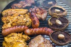 Geassorteerd heerlijk geroosterd vlees over de steenkolen stock fotografie