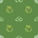 Geassorteerd plantaardig vector naadloos patroon met tomaat en graan Stock Afbeelding