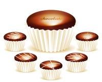 Geassorteerd van Heerlijke chocoladetruffels Stock Afbeeldingen