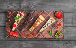 Geassorteerde cakeskaastaart stock foto