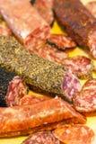 Geassorteerde Catalaanse Spaanse salami Royalty-vrije Stock Afbeeldingen
