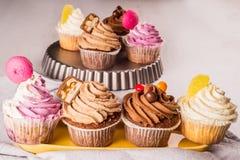 Geassorteerde cupcakes Stock Afbeelding