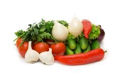 Geassorteerde die groenten op witte achtergrond worden geïsoleerd Royalty-vrije Stock Fotografie