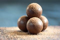 Geassorteerde donkere chocoladetruffels met cacaopoeder Royalty-vrije Stock Afbeeldingen