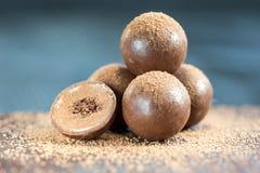 Geassorteerde donkere chocoladetruffels met cacaopoeder Stock Foto