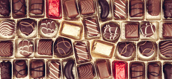 Geassorteerde Fijne Chocolade Stock Afbeeldingen
