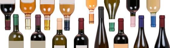 Geassorteerde flessen wijn royalty-vrije stock afbeelding