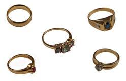 Geassorteerde gouden ringen Stock Foto