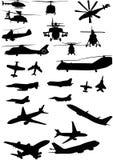Geassorteerde helikopter en vliegtuigsilhouetten Stock Afbeelding