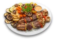 Geassorteerde kebab: kalfsvlees, kip en varkensvlees royalty-vrije stock foto's
