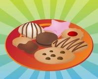 Geassorteerde koekjes op plaat Stock Foto's