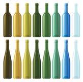 Geassorteerde lege wijnflessen vector illustratie