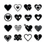 Geassorteerde ontwerpen van de zwarte geplaatste pictogrammen van silhouetharten Stock Foto's