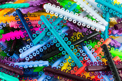 Geassorteerde orthodontie elastomeric ringen Royalty-vrije Stock Afbeeldingen