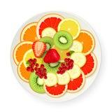 Geassorteerde vruchten op schotel Royalty-vrije Stock Afbeelding