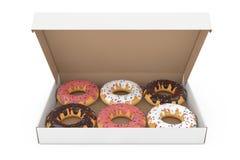Geassorteerde Zoete Donuts in een Document Kartonvakje het 3d teruggeven Stock Afbeeldingen