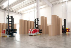 Geautomatiseerd pakhuis (document) met robotachtige vorkheftruck stock fotografie