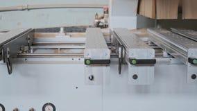Geautomatiseerde houtbewerkingsmachine in de timmerwerkworkshop stock footage
